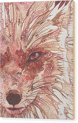 Wood Print featuring the painting Fox by Tamara Phillips