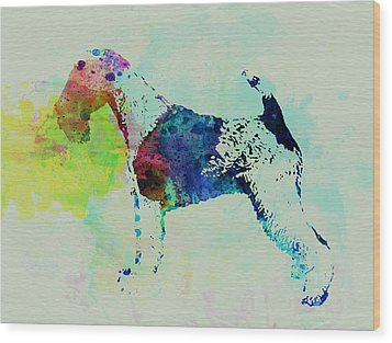 Fox Terrier Watercolor Wood Print by Naxart Studio