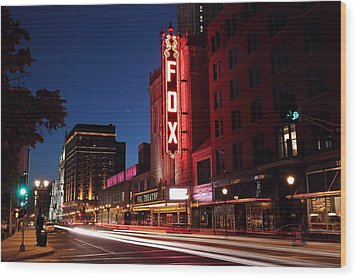 Fox Theater Twilight Wood Print by Scott Rackers