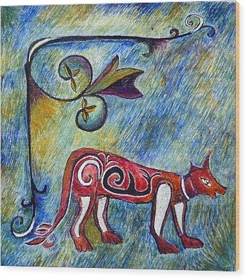 Fox Totem Wood Print by Catherine Meyers