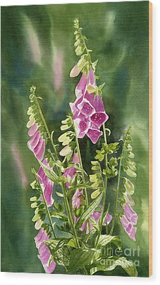 Foxgloves With Background Wood Print by Sharon Freeman