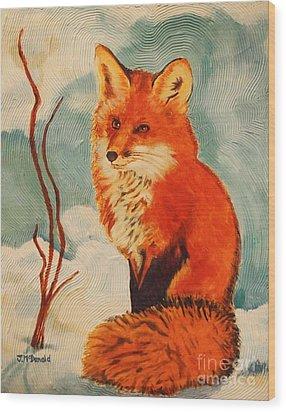 Foxy Presence Wood Print