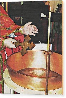 Fr Yakov Blesses Water Wood Print by Sarah Loft