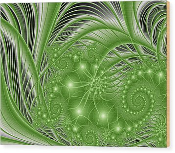 Fractal Abstract Green Nature Wood Print