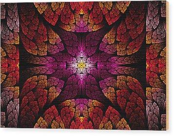 Fractal - Aztec - The All Seeing Eye Wood Print by Mike Savad