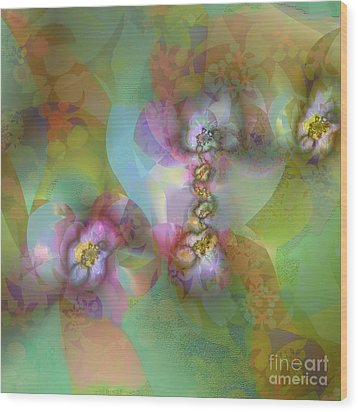 Fractal Blossoms Wood Print by Ursula Freer