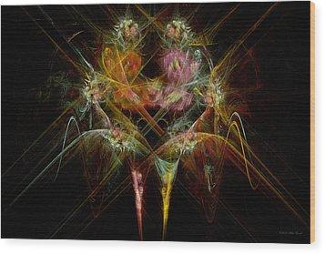 Fractal - Christ - Angels Embrace Wood Print by Mike Savad