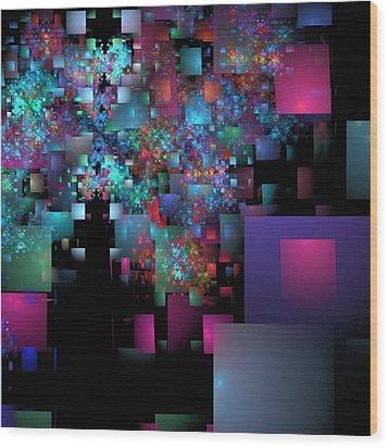 Fractal Confetti Wood Print by Richard Ortolano