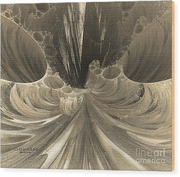 Fractal Crater Wood Print by Melissa Messick