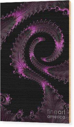 Fractal Curls Wood Print by Ann Garrett