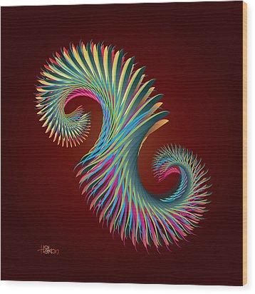 Fractal Feather Spiral Wood Print by Hakon Soreide