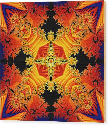 Wood Print featuring the digital art Fractal Flames No 1 by Charmaine Zoe