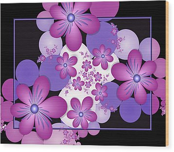 Fractal Flowers Modern Art Wood Print
