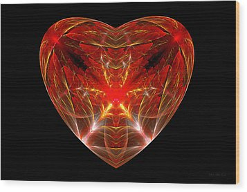 Fractal - Heart - Open Heart Wood Print by Mike Savad