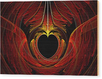 Fractal - Heart - Victorian Love Wood Print by Mike Savad