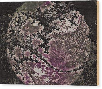 Fractal Moon Wood Print by Susan Maxwell Schmidt