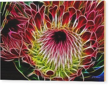 Fractal Protea Wood Print by Michael Durst