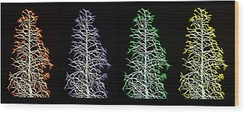 Fractal Seasons - Inverted Tetraptych Wood Print by Steve Ohlsen
