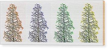 Fractal Seasons - Tetraptych Wood Print by Steve Ohlsen