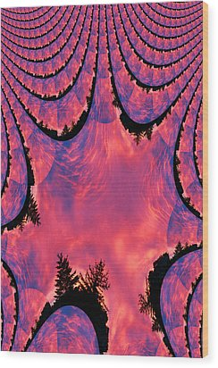 Fractal Sunrise Wood Print by Kevin Bone