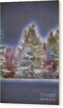Fractalius Winter Pines Wood Print