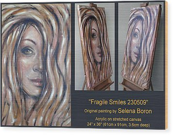 Wood Print featuring the painting Fragile Smiles 230509 Comp by Selena Boron