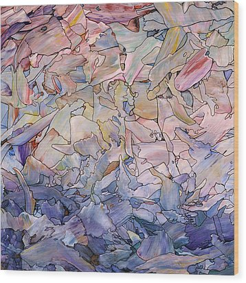 Wood Print featuring the painting Fragmented Sea - Square by James W Johnson