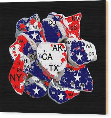 Fragmented States Of The Union Wood Print by Bruce Iorio