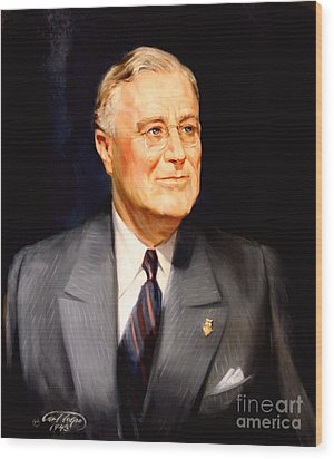 Frainklin Delano Roosevelt Wood Print by Art By Tolpo Collection
