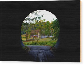 Framed By A Tunnel Wood Print