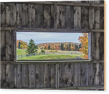 Framed-autumn In Vermont Wood Print by John Vose