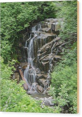 Framed Waterfalls On Mount Rainier Wood Print by John Haldane
