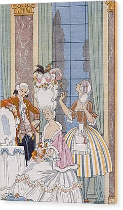 France In The 18th Century Wood Print by Georges Barbier