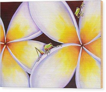 Frangipani Frogs Wood Print