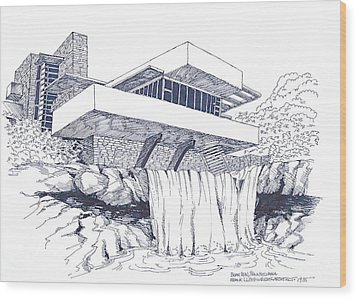 Frank Lloyd Wright Falling Water Architecture Wood Print
