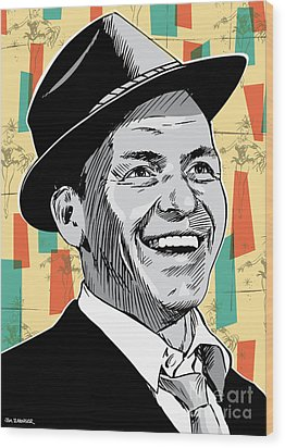 Frank Sinatra Pop Art Wood Print by Jim Zahniser