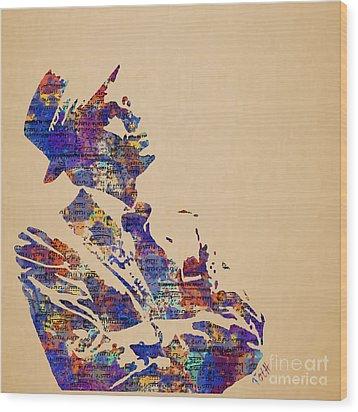 Frank Sinatra Watercolor Wood Print