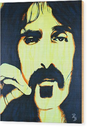Wood Print featuring the painting Frank Zappa Pop Art by Bob Baker
