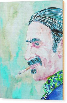 Frank Zappa Smoking A Cigarette Watercolor Portrait Wood Print by Fabrizio Cassetta
