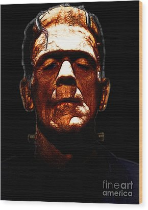 Frankenstein - Black Wood Print by Wingsdomain Art and Photography