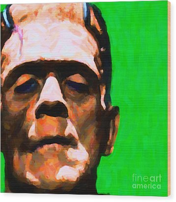 Frankenstein Painterly Green Square Wood Print by Wingsdomain Art and Photography