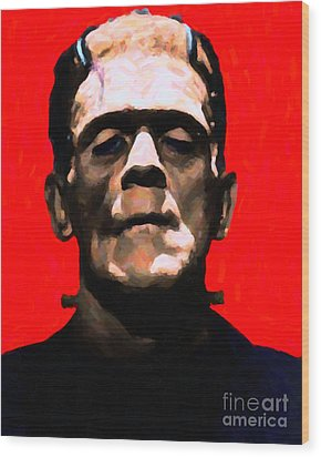 Frankenstein - Painterly - Red Wood Print by Wingsdomain Art and Photography
