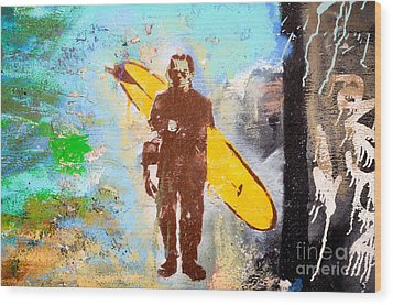 Frankenstein Surf Graffiti Wood Print by Amy Fearn