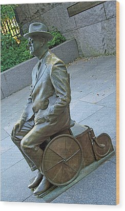 Franklin Delano Roosevelt In A Wheelchair Wood Print by Cora Wandel