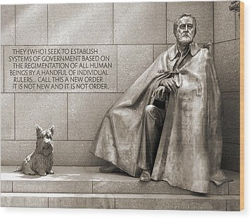 Franklin Delano Roosevelt Memorial - Bits And Pieces 7 Wood Print by Mike McGlothlen