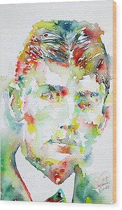 Franz Kafka Watercolor Portrait.2 Wood Print by Fabrizio Cassetta
