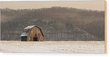 Frechman Barn - Winter Wood Print by Wayne Meyer