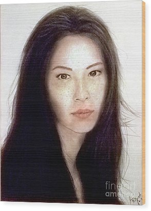 Freckled Faced Beauty Lucy Liu  Wood Print by Jim Fitzpatrick
