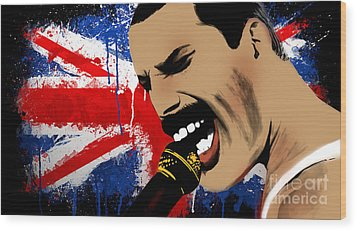 Freddie Mercury Wood Print by Mark Ashkenazi