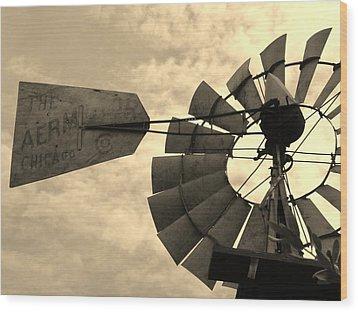 Fredericksburg Herb Farm Aermotor Windmill Sepia Wood Print by Elizabeth Sullivan